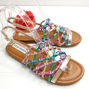 Steve Madden Multi Colored Woven Youth Sandals